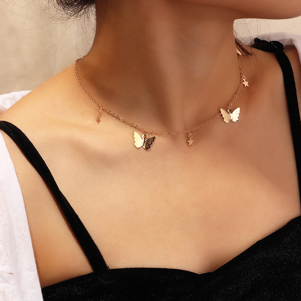 SUMENG New Fashion Small Animal Butterfly Stars Chain Necklaces Gold Silver Color Clavicle Chain Necklaces For Women Jewelry