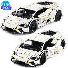 High-tech criatividade famosa corrida blocos de construção branco modelo de carro esportivo tijolo crianças brinquedos para o namorado presentes de aniversário