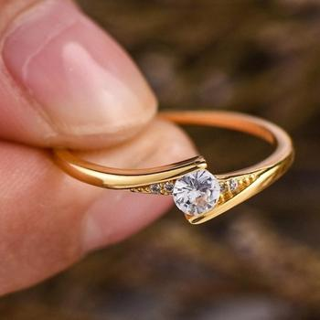 Fashion 14K Gold Round Cut 1ct White Sapphire Diamond For Unisex Rings Engagement Solitaire Personality Wedding Jewelry Gift image
