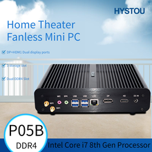 HYSTOU Fanless Mini PC 8th Gen i7 8565U Quad Core 2 * DDR4 M.2 Mini Computer Windows 10 Pro DP HDMI HTPC Nettop Desktop Computer