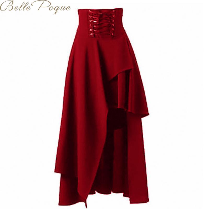 Belle Poque Steampunk Irregular Women Skirts High Waist Solid Skirt Female Streetwear Loose Casual Skirts 2019 Summer