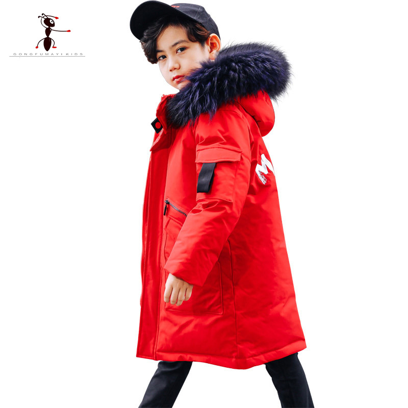 Kung Fu Ant Winter Children's Duck Down <font><b>Jackets</b></font> Down Parkas fur Big boy Coats <font><b>Kids</b></font> thick warm Down <font><b>feather</b></font> <font><b>jacket</b></font> Outerwears image