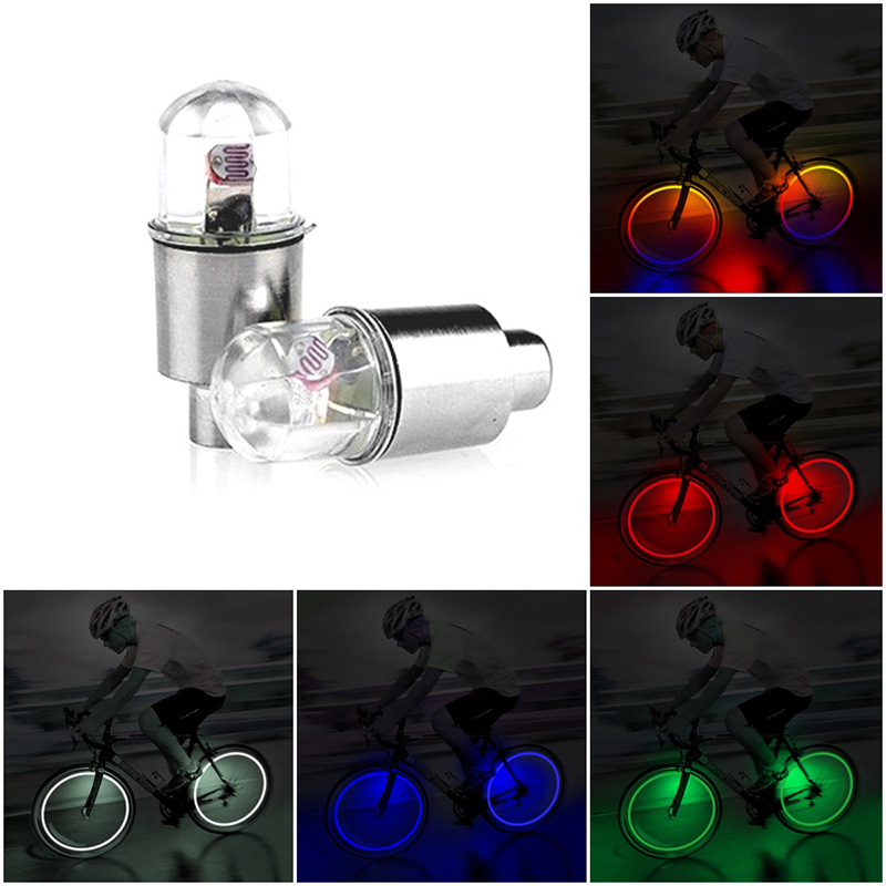 LED Bulbs Tubes LED Tyre Wheel Valve Cap Light 5 Colors Bike Light For Bicycle Motorbicycle Wheel With Button Batteries
