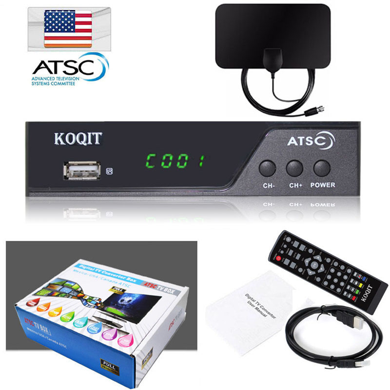 Terrestrial ATSC Digital TV Convertor BOX 1080P HDMI HDTV Analog 3/4CH Clear QAM Cable Receiver TV Tuner Indoor VHF UHF Antenna