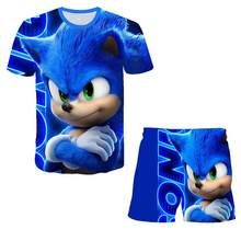 2020 meninos roupas de verão crianças bebê sonic t camisa dos desenhos animados shorts menino roupa esporte terno crianças conjunto 4 5 6 7 8 9-14 anos