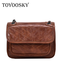 TOYOOSKY Fashion Women Clutch Messenger Bags Design Girls Shoulder Vintage Diagonal PU Leather Small Lady Handbags