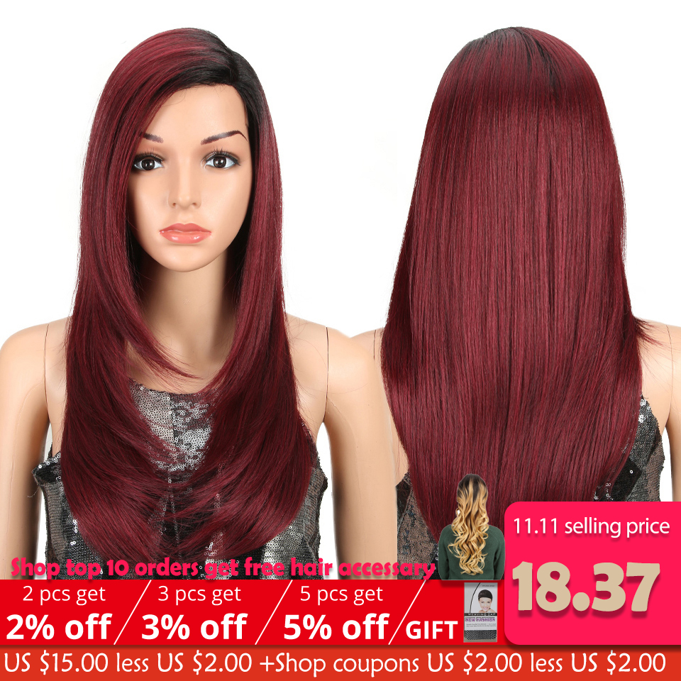 MAGIC Lace Front Synthetic Wigs For Black Women Middle Long 24 Soft Ombre Red Wig With Dark Roots Wavy Heat Resistant Fiber Hair