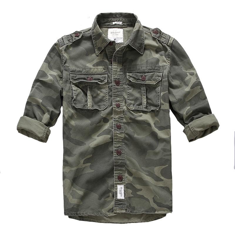 Hommes en plein air randonnée escalade sport militaire Cargo chemise printemps automne coton Camouflage à manches longues respirant tactique chemises