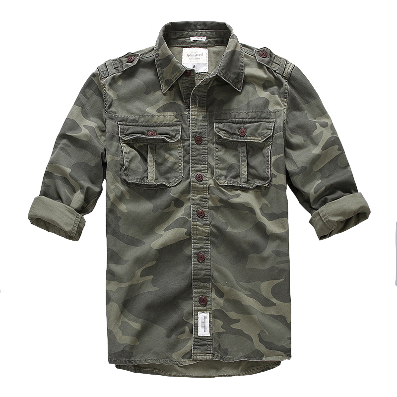 Men Outdoor Hiking Climbing Sports Military Cargo Shirt Spring Autumn Cotton Camouflage Long Sleeve Breathable Tactical Shirts