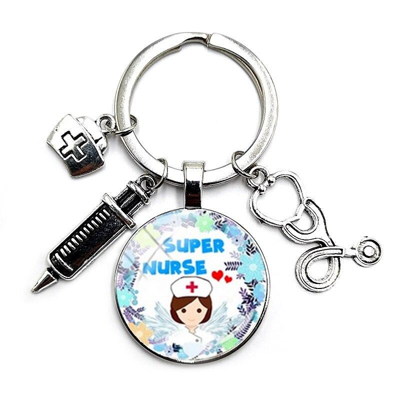 Купить брелок с изображением шприца медсестры и стетоскопа 25 мм