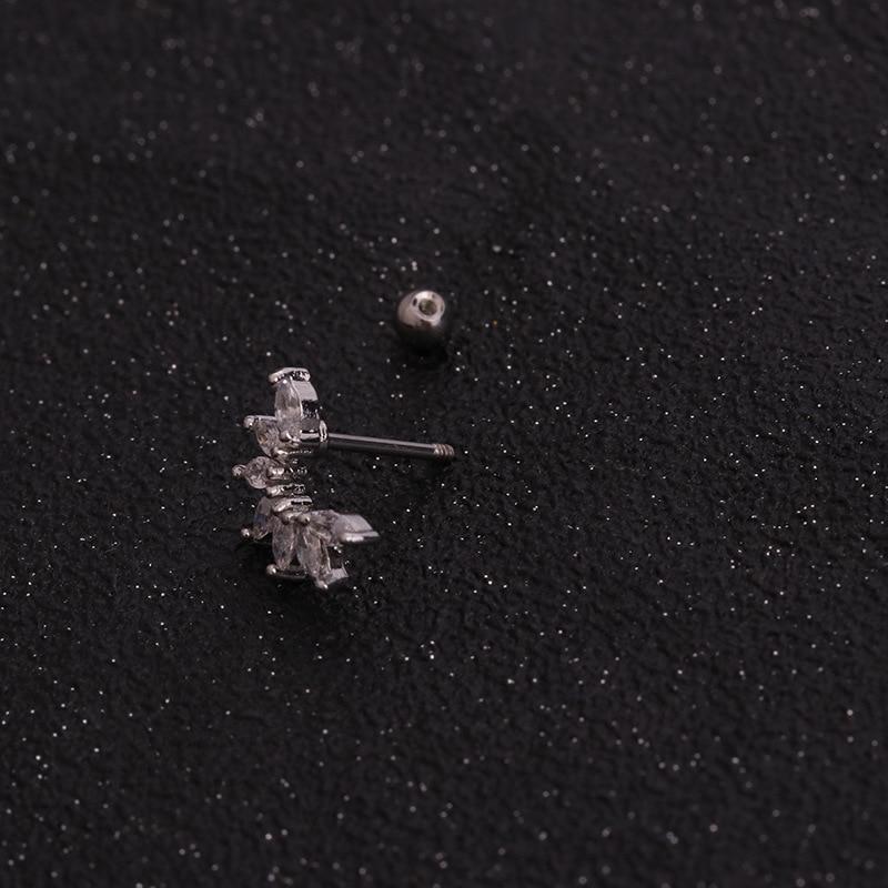 1 PCS Trendy Lovely Small Heart Leaf Flower Ear Studs Cuff Earrings Women Cute Silver Color CZ Helix Piercing Cartilage Earrings