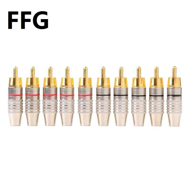 FFG 10 Pcs RCA Solder Konektor Audio Video Plug DIY RCA Speaker Adapter Plug SPEAKER Terminal Video Mengunci Kabel