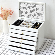 Wooden jewelry box female solid wood princess European Korean hand ornaments ear antique storage large