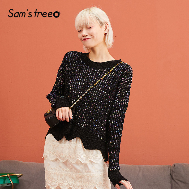 SAM'S TREE Black Colorblock Korean Style Knitted Pullover Sweater Women 2019 Winter Blue Wave Full Sleeve Lazy Office Lady Tops