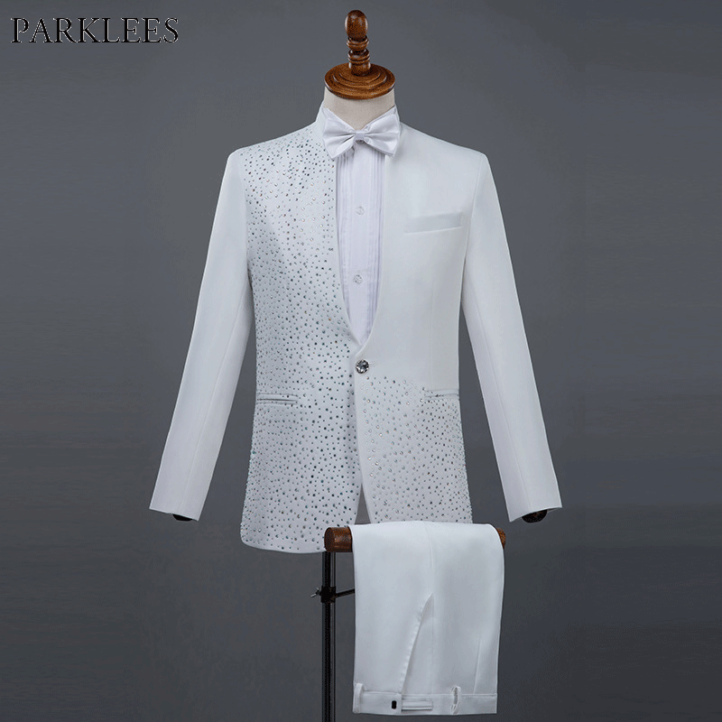 Mens 3pcs One Button White Tuxedo Suits Sparkly Diamond Embroidered Weeding Groom Suit Male Stage Prom Costume Homme Mariage 2XL