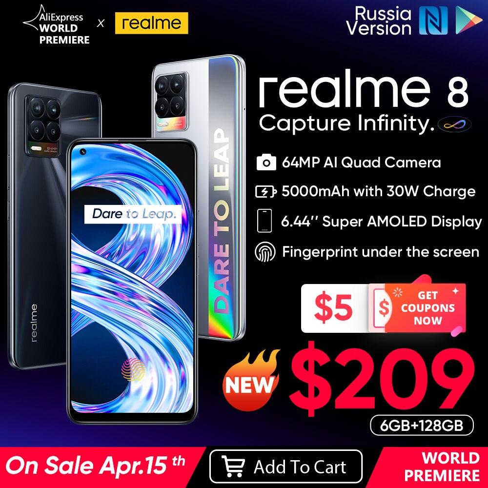 Realme 8 smartphone 64mp quad câmera helio g95 6.44