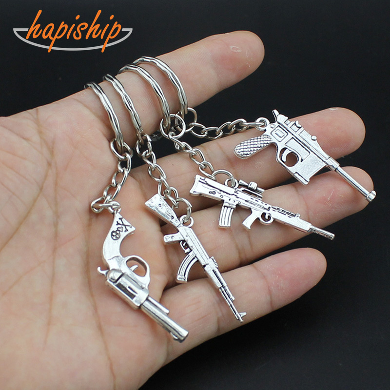 Hapiship 2018 New Hot Women/Men's Fashion Vintage Silver Gun Key Chains Key Rings Alloy Charms Gift YSDY74 Wholesale