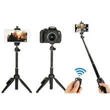 цена Wireless Bluetooth Selfie Stick + Mini Selfie Tripod with Remote Control For Phone Portable Adjustable Camera Stand Holder онлайн в 2017 году