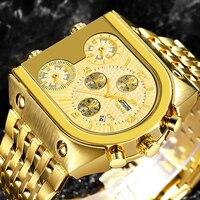 TEMEITE Goldene Herren Uhren Top Marke Luxus Edelstahl Military Quarz Big Größe Gold Männlichen Armbanduhr Relogio Masculino
