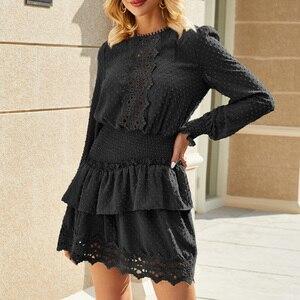 Image 3 - Eleganckie zimowe sukienki Polka Dot damskie Retro eleganckie sukienki w stylu casual, imprezowa krótkie sukienki w pasie femme sukienka Vestido