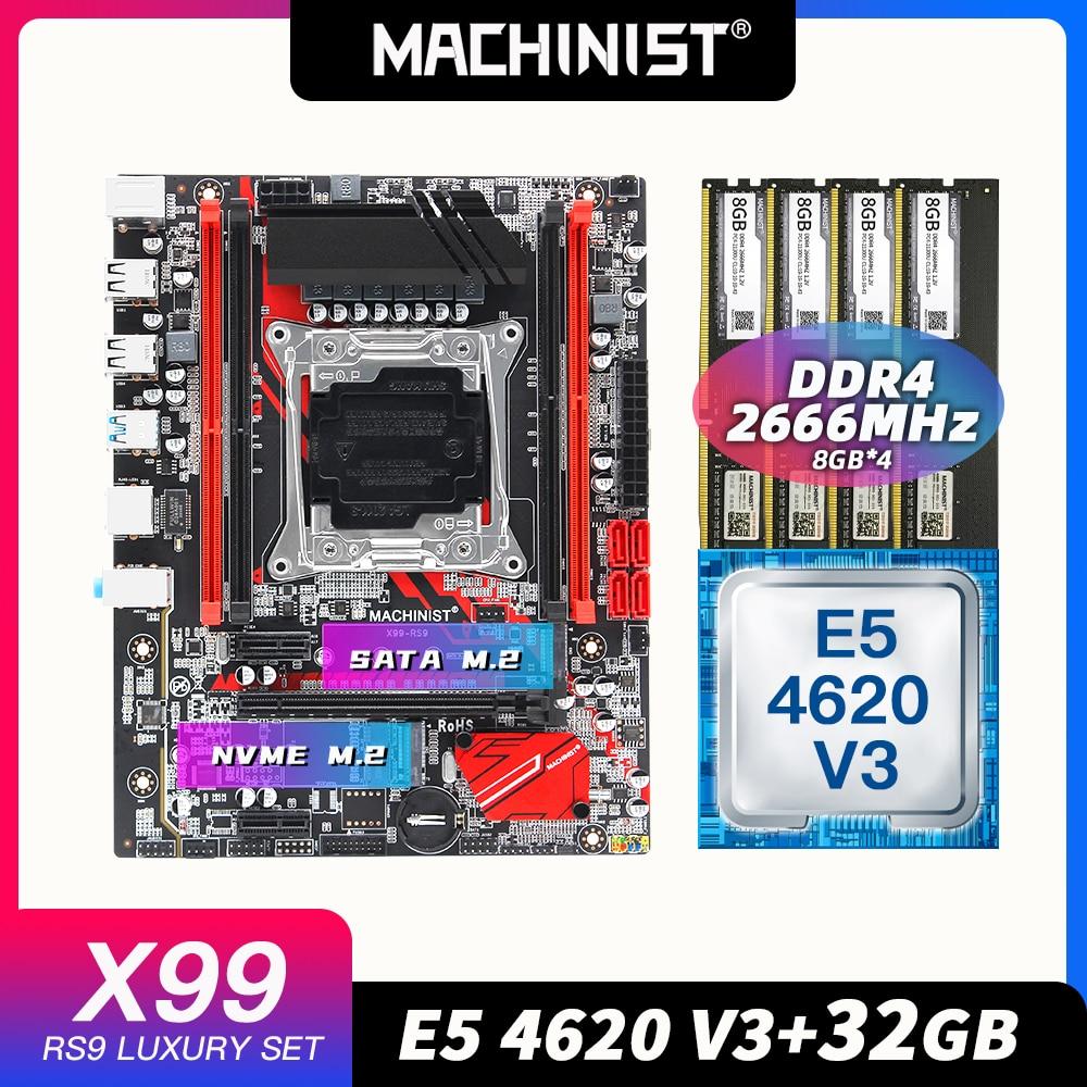 MACHINIST X99 combo motherboard LGA 2011-3 kit Intel xeon E5 4620 V3 processor DDR4 32GB 2666mhz RAM memory материнская плата пк 1