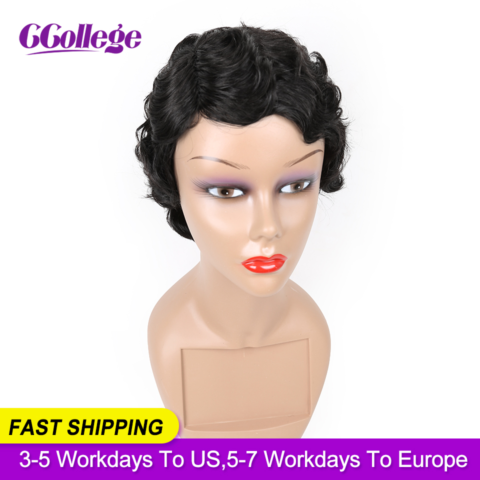 Pixie Cut Wig Non-Remy Peruvian Hair Bob Wigs For Black Woman Finger Wave Wigs Short Human Hair Wigs Color 1B Fast Shipping