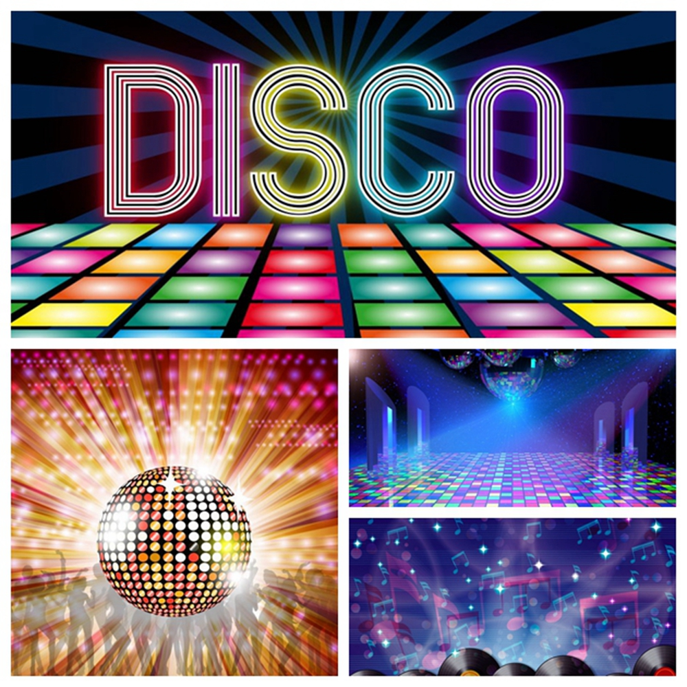 80s 90s Disco Party Backdrop Photophone Shinny Colorful Music Dance Show Time Stage Photography Background For Photo Studio image