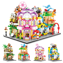 цены Mini Bricks City View Scene Mini Street Model Compatible Legoines Architecture Building Block Toys Store Children Christmas Gift