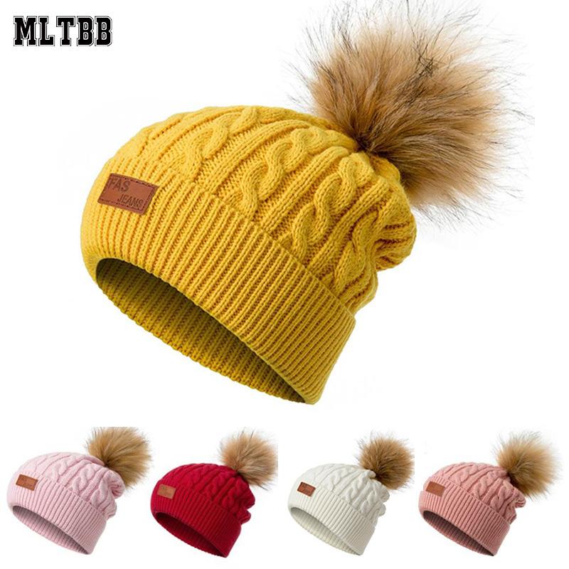 MLTBB Women Winter Beanies Hat Thick Knitted Beanie Hats Pompom for Girls Kids Female Skullcap Parent child 1 3 years old