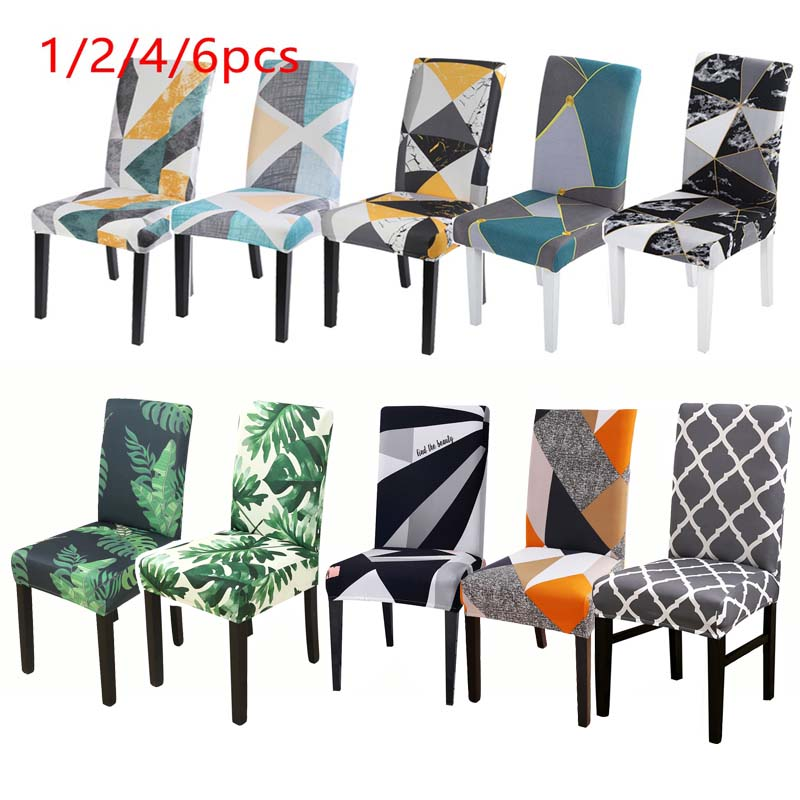 1/2/4/6pcs Floral Printed Pattern Chair Cover Stretch Seat Covers Dining Room Chair Covers Removable Washable Seat Cover