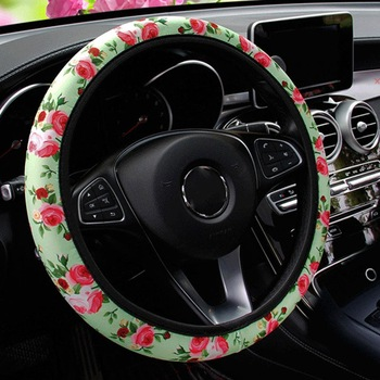 Universal Leather Auto Car Steering Wheel Cover Anti Slip Rose Flower Car Styling Steering-wheel Covers For Women Girls Ladies image