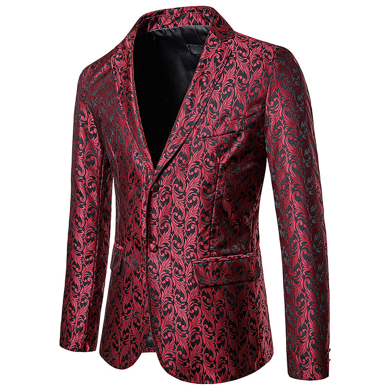 Blazer Jacket Stage-Costume Coat Wedding-Dress Slim-Fit Business-Style Floral-Printed
