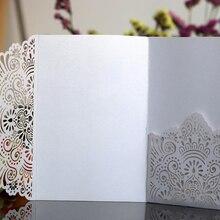 50 шт., европейские свадебные пригласительные открытки с лазерной огранкой, трехкратные кружевные поздравительные визитные открытки, открытки для ответа на приглашение, свадебные сувениры, вечерние украшения
