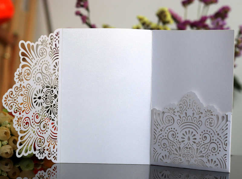 50pcs Lot Chic Laser Cut Carved Birthday Party Invitation Cards