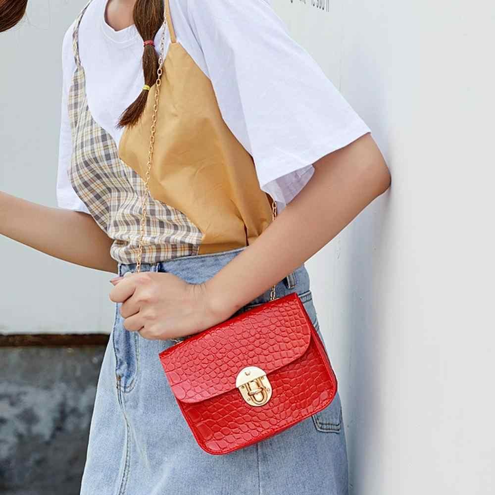 Warna Solid Buaya Pola Tas Selempang untuk Wanita Pengait Tas Tas Bahu Tas Tangan B2