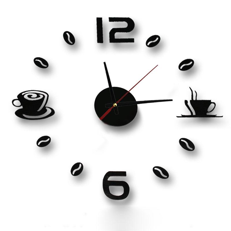 New Hot Clock Watch Wall Clocks Horloge 3d Diy Acrylic Mirror Stickers Home Decoration Living Room Quartz Needle reloj de pared(China)