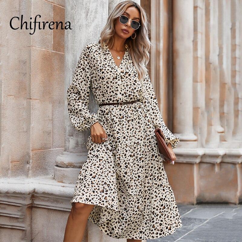 Женское леопардовое зимнее платье Chifirena 2020, платья с длинным рукавом и V-образным вырезом, женское пляжное осеннее винтажное платье с оборка...