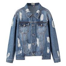 Denim Jacket Vintage Patchwork Cowboy Jeans  Women Autumn Frayed Ripped Hole Jean Bomber Plus Size 4XL