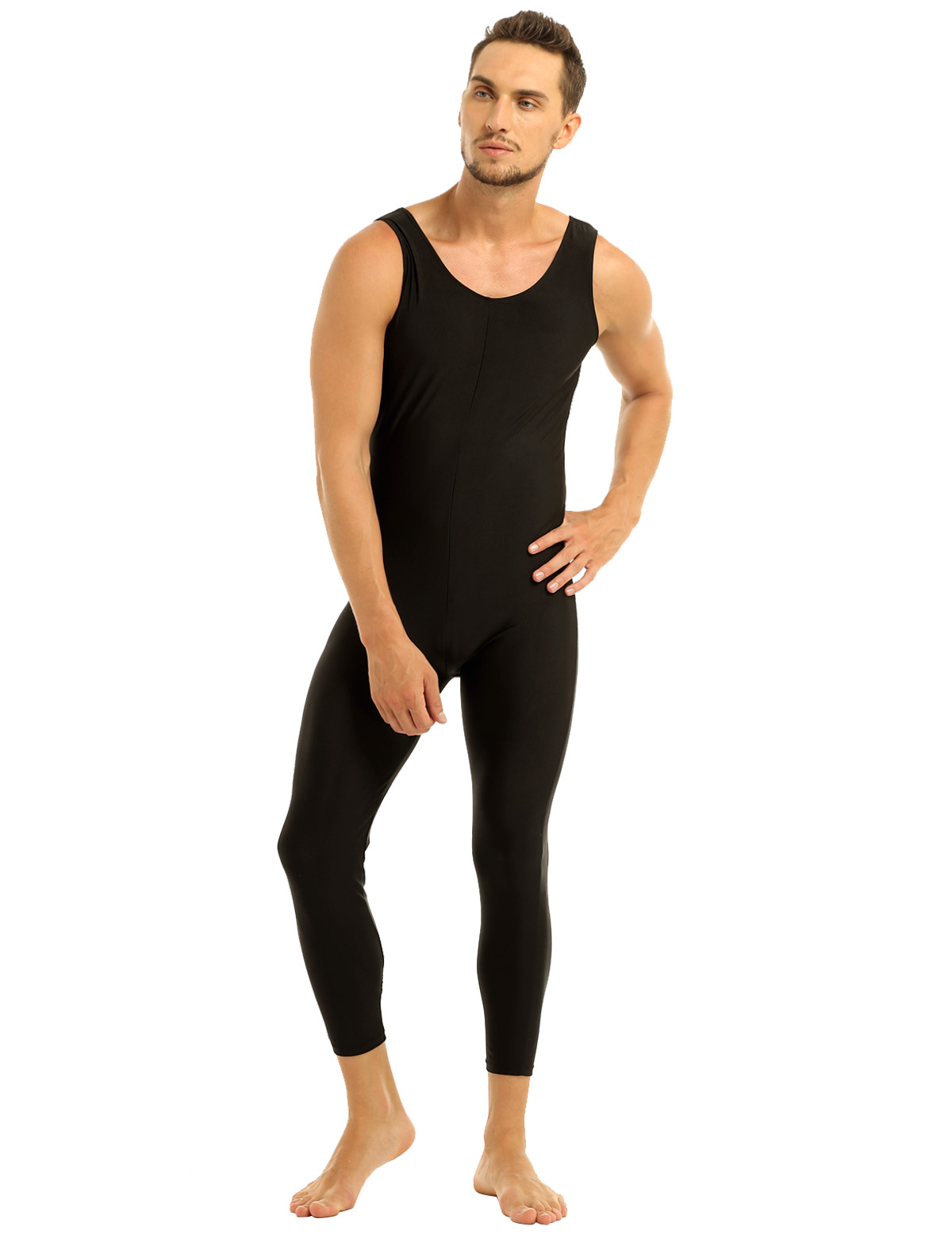 Men Sleeveless Leotard Bodysuit Lycra Tights Leggings for Ballet Dance Vest Teddy Sports Unitard Catsuit Male Dancewear Jumpsuit 31