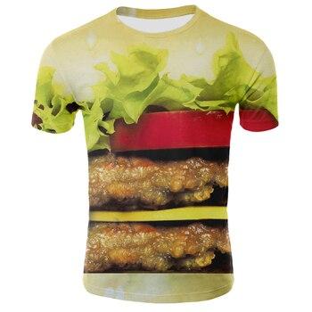 2020 summer new 3D T-shirt mens short-sleeved shirt, interesting and T-shirt/burger/tennis/3D for men w