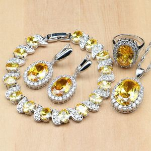 Image 1 - 925 Sterling Silver Bridal Jewelry Sets Yellow Cubic Zirconia Decoration For Women Earrings Rings Bracelet Pendant Necklace Set