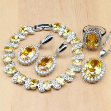 925 Sterling Zilveren Bruids Sieraden Sets Geel Zirconia Decoratie Voor Vrouwen Oorbellen Ringen Armband Hanger Ketting Set