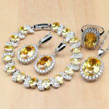 925 فضة مجوهرات الزفاف مجموعات الأصفر زركون الديكور للنساء أقراط خواتم سوار قلادة قلادة مجموعة