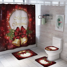 Рождественская занавеска для душа с принтом коврик для ковра комбинированный коврик для ванной туалета для ванной занавес набор из 4 предметов