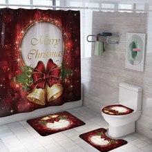 Christmas Printed Shower Curtain Carpet Mat Combination Bathroom Toilet Set 4 Pcs