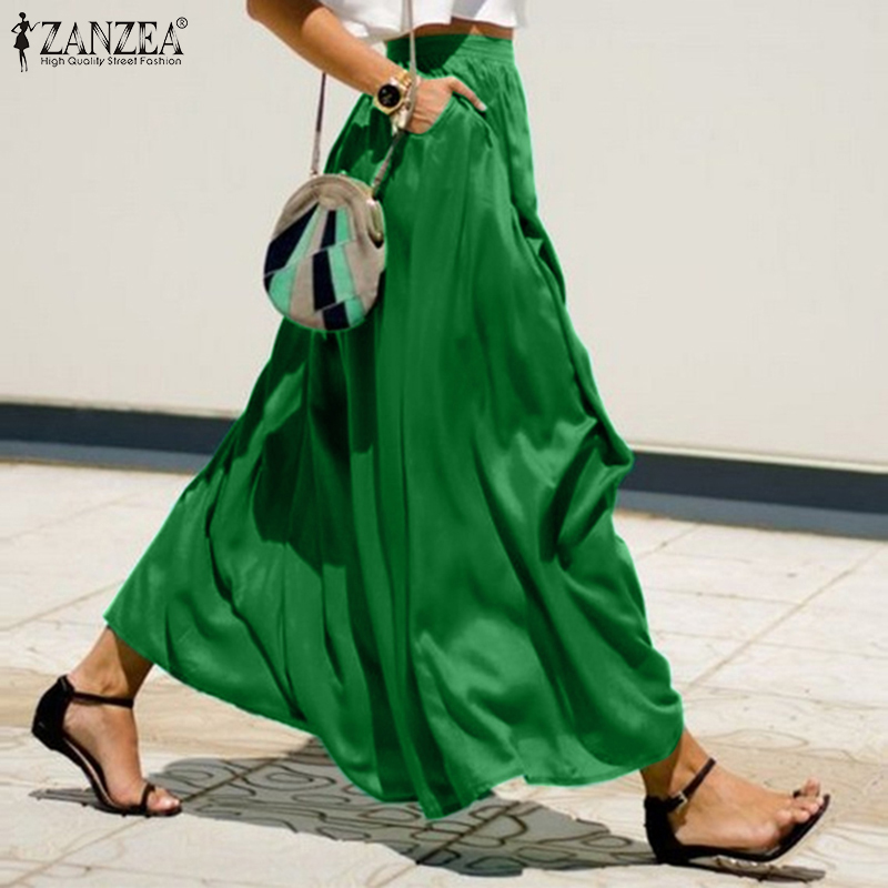 Women's Skirts 2020 ZANZEA Elegant Lady Solid Long Skirt Casual Big Swing Faldas Jupe Femme Loose Pockets Maxi Skirt Plus Size 7