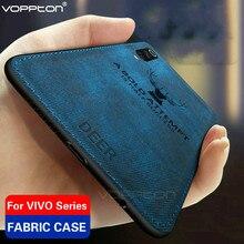 Tela clásica para VIVO V17 Neo S1 IQOO Neo Y7S Z5, funda trasera dura de tela con marco de silicona TPU y diseño de animales