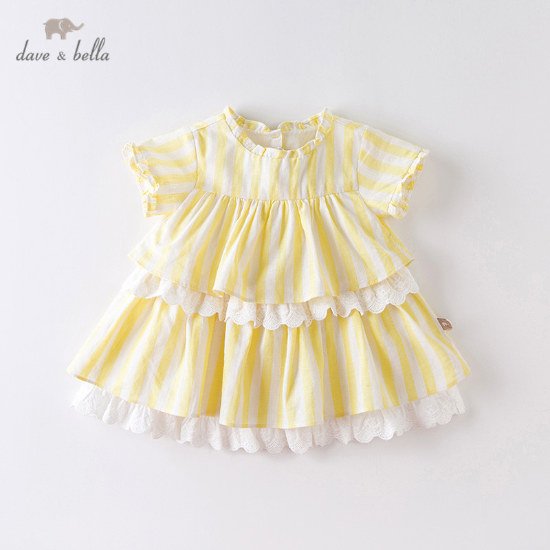 DB13629 Dave Bella Summer Baby Girl's Cute Striped Draped Dress Children Fashion Party Dress Kids Infant Lolita Clothes