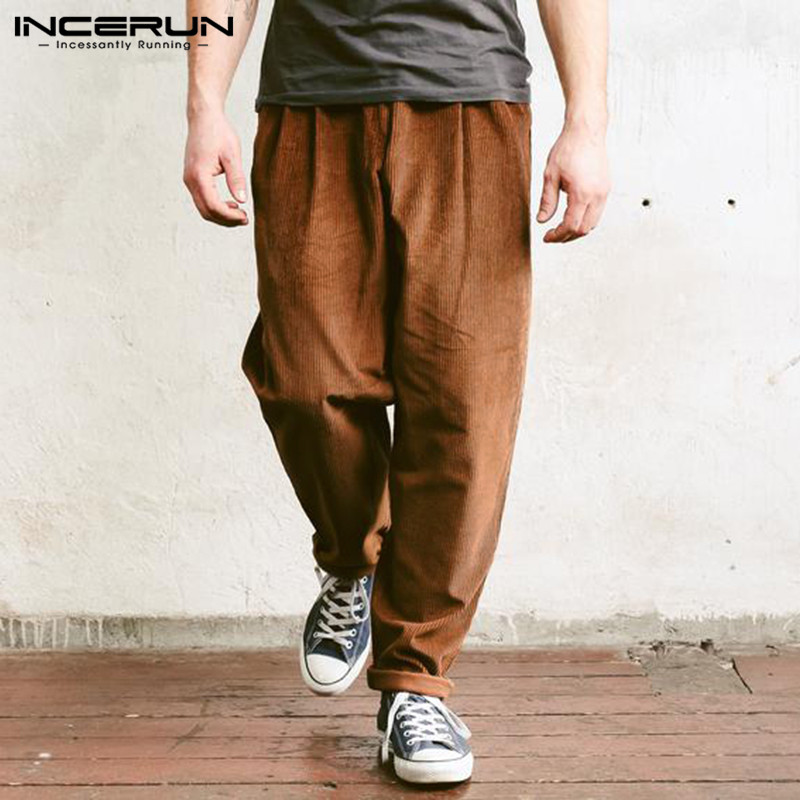 2019 Men Corduroy Pants Solid Baggy Joggers Button Fashion Casual Business Pants Hiphop Trousers Men Pantalon Streetwear INCERUN