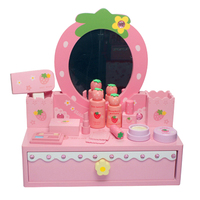 New Wooden Pretend Makeup Playset Children Role Play Jewel Case Beauty Dresser Toy For Girls Christmas Gift Red/Pink